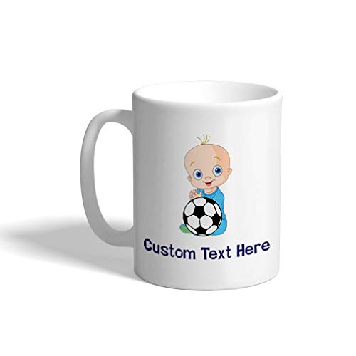 Custom Funny Coffee Mug Coffee Cup Lil Soccer Baby Soccer White Ceramic Tea Cup 11 Ounces Personalized Text Here