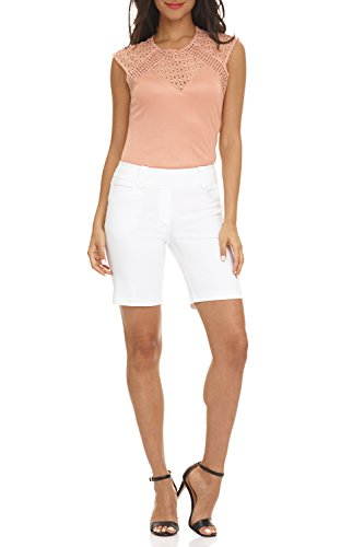 REKUCCI Women's Ease In To Comfort Fit Perfection Modern Office Short (6,White) Pull On Spandex Shorts