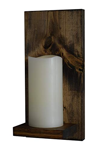 Rustic Wall Candle Sconce, Wood Panel and Shelf with Mounting Hanger, LED Candle with 5 Hour Timer, Real Wax with Realistic Warm Flickering Light (6 Inch Candle Only, -