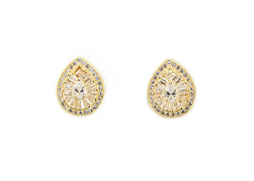 - 925 Sterling Silver Micro Pave Stud Earrings Hand Set Cubic Zirconia Water Drop Pear Shape Earrings Round Diamond Shaped Hypoallergenic Earrings (sterling Silver Gold Plated)