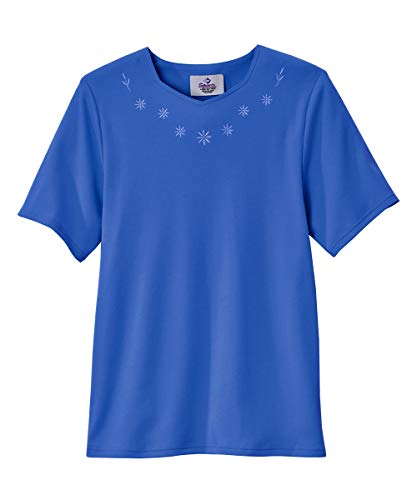 Adaptive Cotton Tshirt for Women Home Care Apparel Back Snap - Blue XL