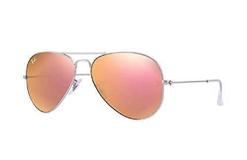 Ray Ban Aviator Matter Silver Metal Frame with Copper Flash Lenses - RB3025 - Aviator Flash Ban Ray Silver