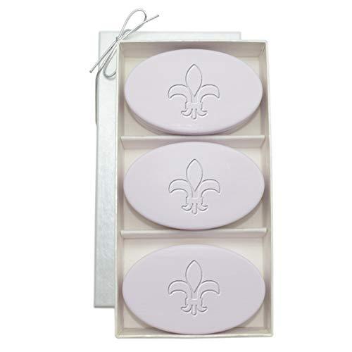 Fleur De Lis Spa - Carved Solutions Gift Set Signature Spa Soap Lavender for Housewarming or Wedding Gift (Fleur de lis)