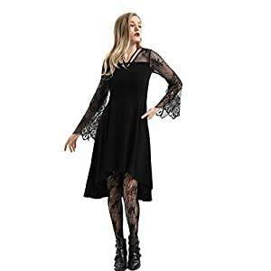 Women's Vintage Gothic Lace Patchwork High-Low Dress Bell Sleeve