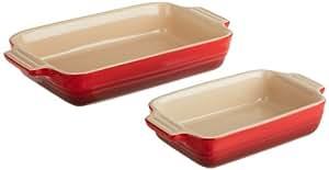 Le Creuset Stoneware 1-1/4-Quart Rectangular Baker with Bonus 16-Ounce Rectangular Baker, Cherry