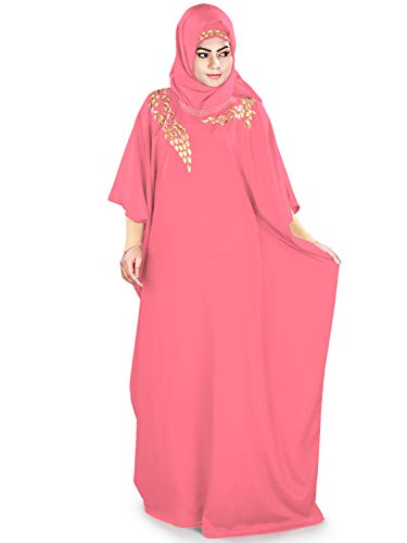MyBatua Womens Kaftan Gold Embroidered Fancy Abaya Evening Gown Free Size Maxi Dress KF-023, Sweet Pink
