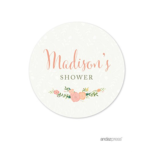 Round Baby Shower Labels (Andaz Press Floral Roses Girl Baby Shower Collection, Personalized Round Circle Label Stickers, Madison's Shower, Your Text Here, 40-Pack, Custom Made)