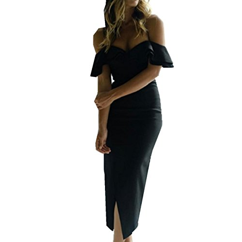 Shoulder Bandage Women The BUETYART Off Summer Strapless Dress Black Dress Bodycon Dress Elegant Sexy Slit vBRWn47xB