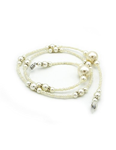 Maxloom Pearl Beaded Eyeglass Chain Sunglass Holder Strap Strings Lanyard Necklace White - Spectacle Beaded Strings