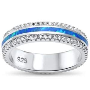 Channel Set Blue Opal Inlay Band 925 Sterling Silver Ring - Jewelry Accessories Key Chain Bracelet Necklace Pendants