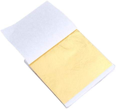 Healifty 50ピース 箔紙シート 手作り箔紙 着色箔紙シートクラフト箔紙模造箔シート用アート絵画彫像壁家具装飾(ゴールデン)