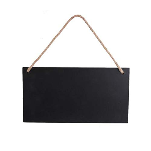 5 Pcs Hanging Wooden Blackboard Erasable Message Chalkboard with String for Signs, Weddings, Parties, Home, Garden Decorations (Rectangle)