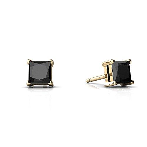 14kt Yellow Gold Black Onyx 4mm Square Princess Cut Stud Earrings
