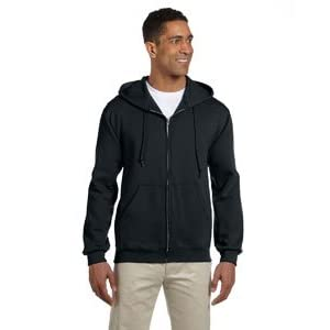 Jerzees Men's Full Zipper High Stitch Hooded Sweatshirt, Blk, X-Large