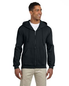 Jerzees Super Sweats Adult Full-Zip Hooded Sweatshirt (Black) (2X)