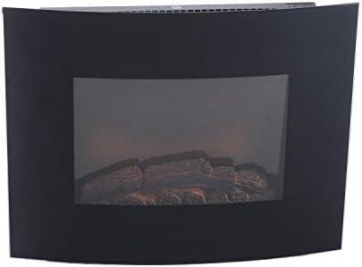 Homocm – Chimenea eléctrica de pared, potencia: 900 W / 1800 W, de hierro y cristal templado, de 65 x 11 x 52 cm, color negro