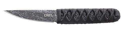 CRKT Obake Skoshi EDC Knife: Burnley Compact Fixed Blade Plain Edge Knife, Outdoor Utility Knife with Handle Wrap, Etched Blade, and Nylon Sheath 2365