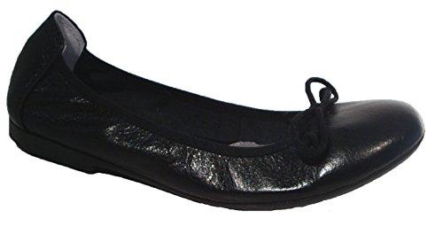 Acebos Ballerinas Flats Slipper Leder schwarz