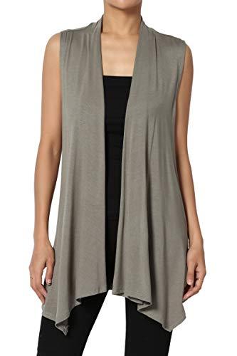 TheMogan Women's Sleeveless Waterfall Jersey Cardigan Asymmetric Vest Dusty Olive XL