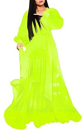 LightlyKiss Women's Sexy V-Neck Chiffon Dresses Long Sleeve Flowy Floor Length Sunress with Waistband Fluorescent Green