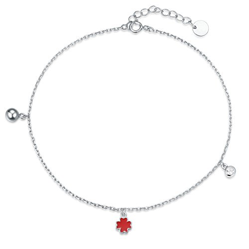 Agvana 925 Sterling Silver Four Leaf Clover Bead Anklet Setting Cubic Zirconia CZ Jewelry for Women Girls Adjustable Foot Chain 8.7'' + 1.2'' (Four 925 Sterling Silver)