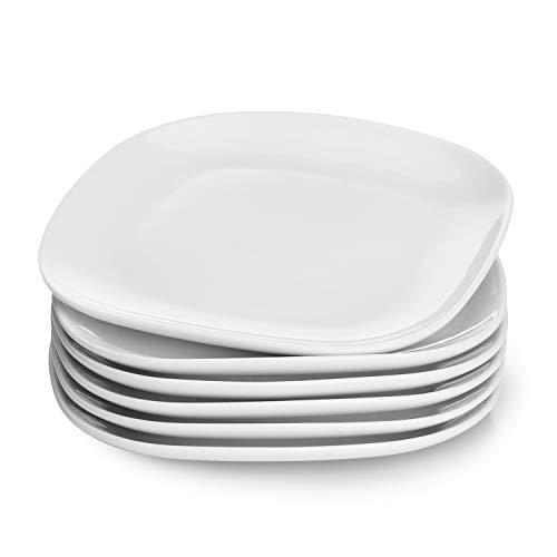 Dessert Plates Set (Sweese 153.001 Porcelain Square Dessert Salad Plates - 7.4 Inch - Set of 6,)