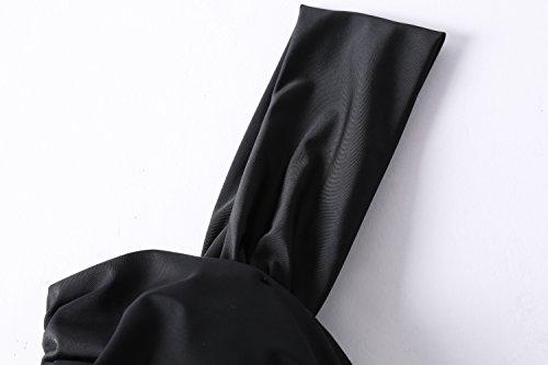 Lemonfish Women Underwire Tankini Swimsuit Plus Size, Halter Front Bow Top and Skort Bottom One Piece Swimwear Set Bathing Suits (Black, US Size 20W-22W) by Lemonfish (Image #3)