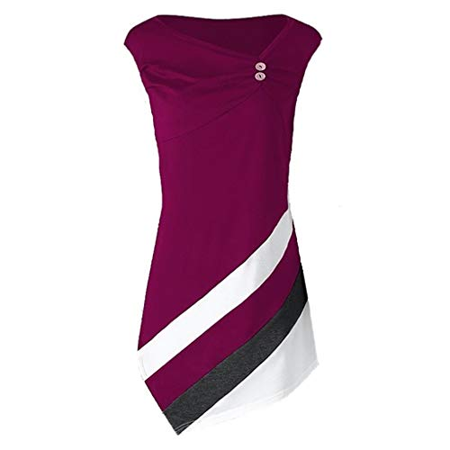 iLOOSKR Fashion Women's Ladies Sleeveless Button V-Neck Blouse Long Shirt Pullover Solid Tops(Purple,L)