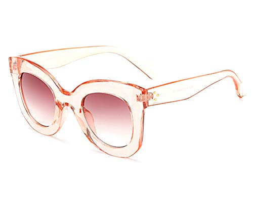 (Butterfly Sunglasses Semi Cat Eye Glasses Plastic Frame Clear Gradient Lenses (Pink, 45MM))