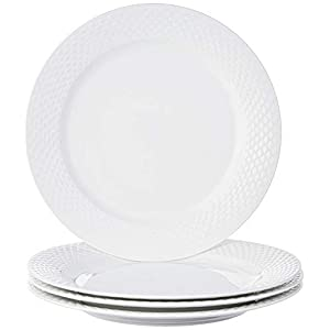 Amazon Brand – Solimo Handmade Ceramic Dinner Plate Set, 4 Pieces