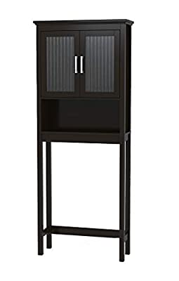 Spirich Home Bathroom Shelf Over The Toilet, Bathroom Cabinet Organizer with Moru Tempered Glass Door