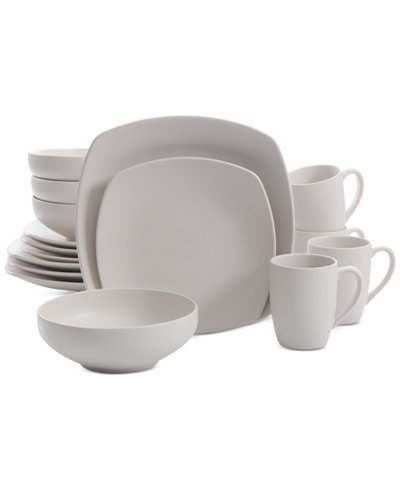 Signature Living 16-Pc. Majorca Matte Glaze Linen Square Dinnerware Set