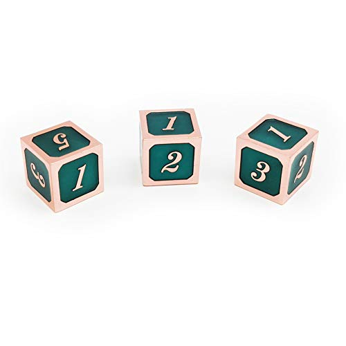 Haxtec 3 Pack Metal Dice DND Dice D6 Set for Dungeons and Dragons D&D RPG MTG Table Games-Pack of 3 (Copper Teal)