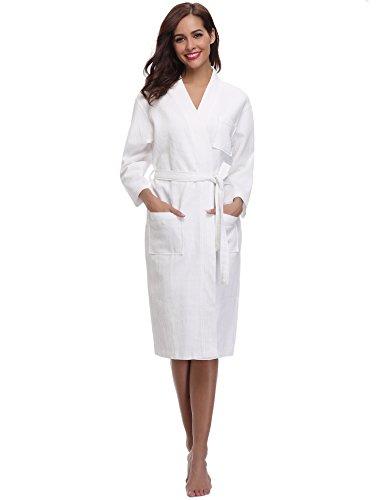 Aibrou Women's Hotel Spa Kimono Collar Robe Bathrobe Waffle Weave Wrap Robe