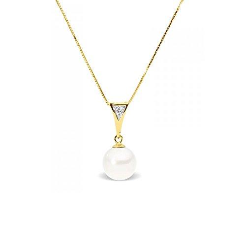 Collier Pendentif Perle de Culture d'eau douce Blanche, Diamants et Or Jaune 375/1000 -Blue Pearls-BPS K202 W
