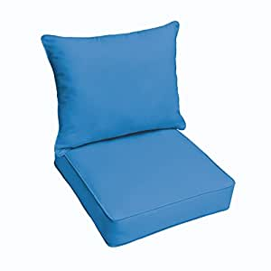 Mozaic Co. Sloane Light Blue Indoor/ Outdoor Corded Chair Cushion And Pillow Set