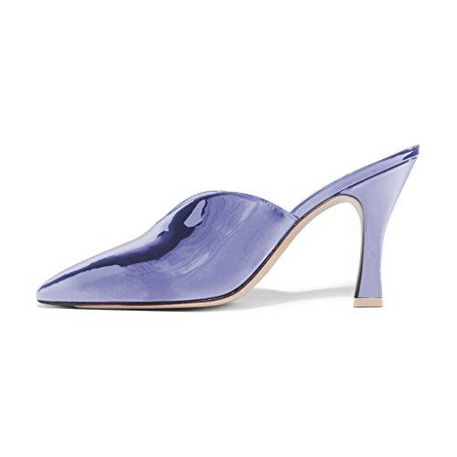 Fsj Donne Bellissime Scarpe A Punta Toe Mule Slip On Sandali Con Tacco Alto Scarpe Da Festa In Vernice Taglia 4-15 Us Viola Chiaro
