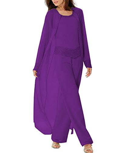 Fitty Lell Women's Purple Three-Pieces Mother of The Bride Dress Chiffon Evening Gown Pants Suits(US16,Purple03)