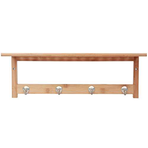 ToiletTree Products 100% Bamboo Wooden Natural Shelf with 4 Stainless Steel Hooks by ToiletTree Products (Image #7)