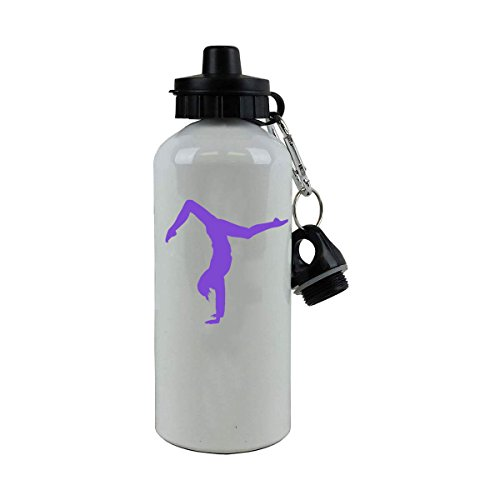 Personalized Custom Gymnastics Aluminum White Finish 20-Ounce 600ML Sport Water Bottle Sport Lid, Customizable (Purple)