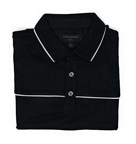 (Banana Republic Factory Mens White Stripe Dress Polo Shirt Soft Touch Pima Cotton (Black, Small))