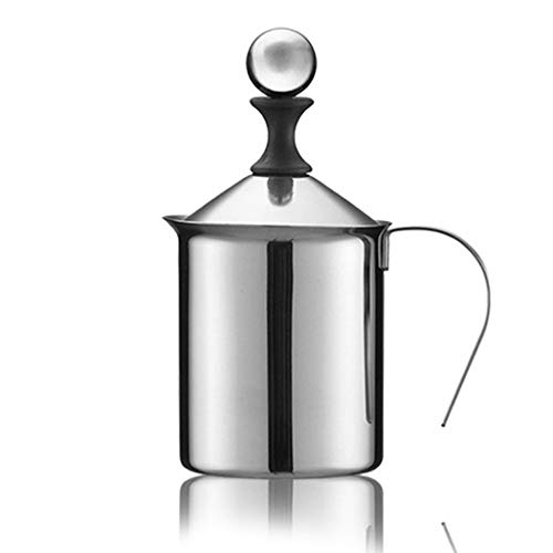 SIPLIV Stainless Steel Double Mesh Milk Frothing Pitchers Espresso Steaming Pitchers Cappuccino Latte Art Coffee Milk Foam Pitcher with Handle and Lid - 14 Ounce (400 ml)
