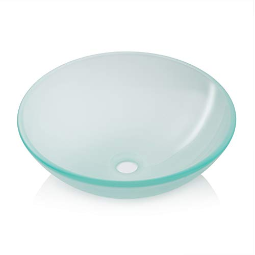 Miligore Modern Glass Vessel Sink - Above Counter Bathroom Vanity Basin Bowl - Round Frosted