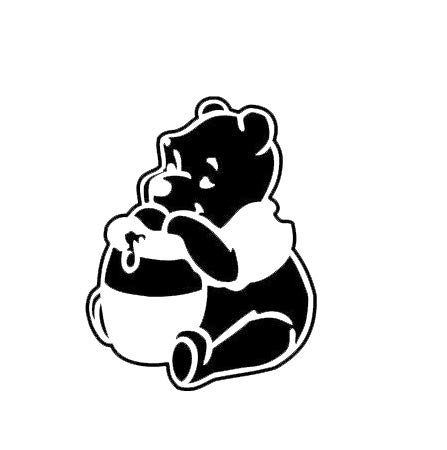 CCI Winnie The Pooh Eating Honey Decal Vinyl Sticker|Cars Trucks Vans Walls Laptop|Black |5.5 x 4.3 in|CCI2119]()