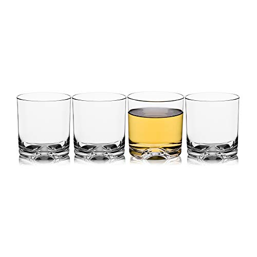 (Unbreakable Tritan Plastic Whiskey Rocks Glasses Tumblers Double Old Fashioned Cups for Drinking, Beer, Cocktails Glassware 9 OZ, Shatterproof, BPA-FREE, Dishwasher safe Set of 4)