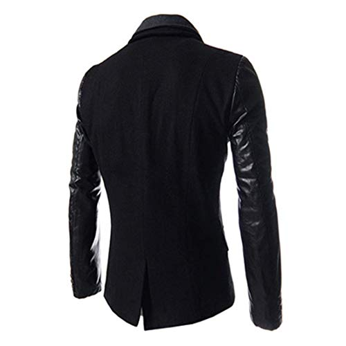 Apparel Coat with Huixin Schwarz Fit Fur Men Splice Lapel Outerwear Slim Zipper Long Sleeve Fake Jacket gWFRqvw