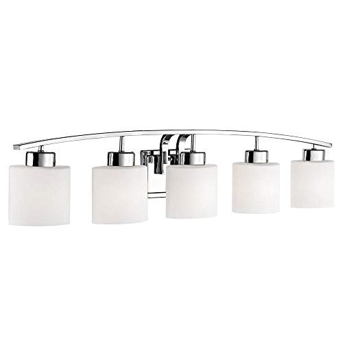 5-Light Bathroom Wall Mounted Light with White Oval Glass an