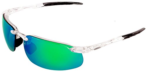 Bullhead Safety Eyewear BH10116AF Swordfish Safety Glass, Black TPR Nose and Temples, One Size, Crystal Clear Frame/Green Mirror - Bullhead Sunglasses