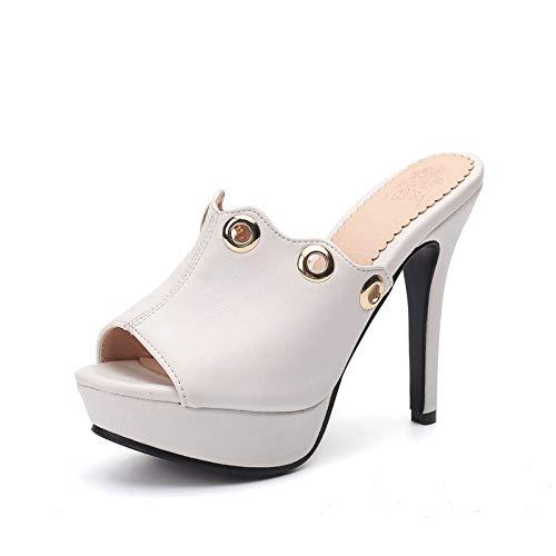 Heels Mujer High Women 33 Shoes Tamaño Hoesczs Zapatos Plataforma 43 Thin Estrenar Más White Bombas Verano El De A Mulas Party aqxBOwA