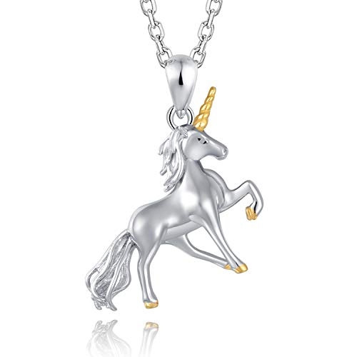 MONBO Silver Unicorn Necklace Gift 925 Sterling Silver Fairytale Unicorn Pendant Necklace for Women Girls Kids (Unicorn A#) ()